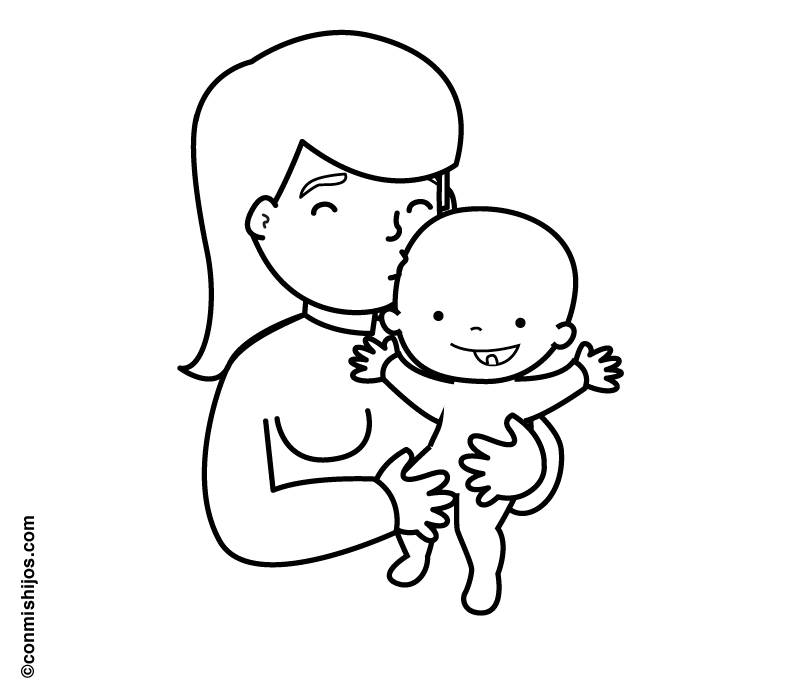 Ausmalbild Menschen und ihr Zuhause: Mama mit Baby kostenlos ausdrucken