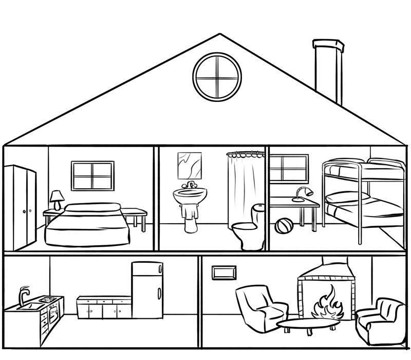 Ausmalbild Menschen und ihr Zuhause: Puppenhaus kostenlos ausdrucken