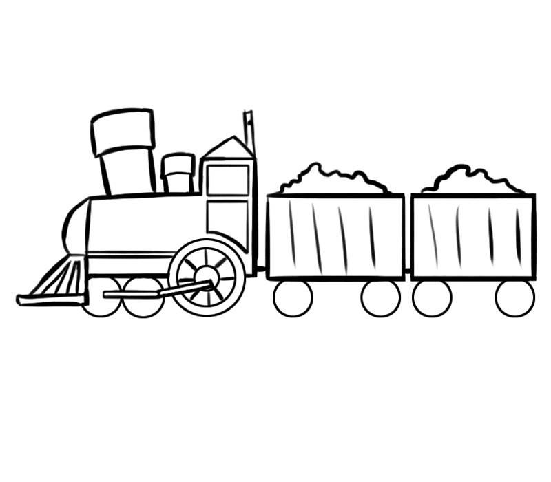 Ausmalbild Transportmittel: Zug mit gefüllten Waggons kostenlos ...