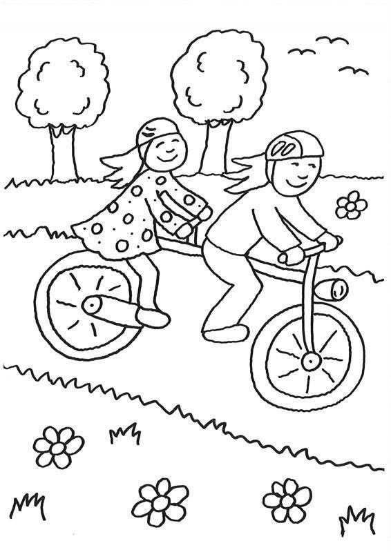 Ausmalbild Rund Ums Spielen Kinder Fahren Tandem Kostenlos Ausdrucken