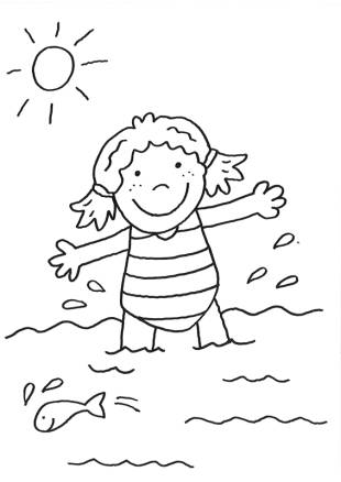 kostenlose malvorlage rund ums spielen: kostenlose malvorlage: mädchen im meer zum ausmalen