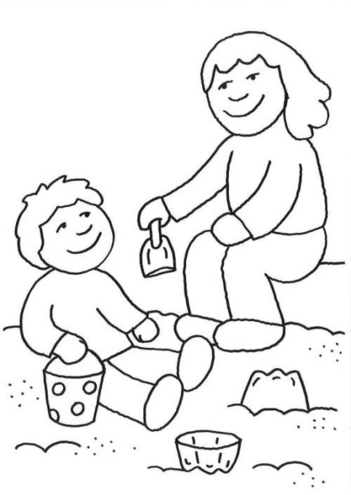 kostenlose malvorlage rund ums spielen sandkasten zum