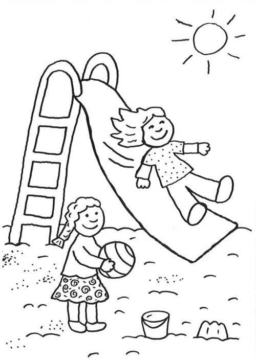 Kostenlose Malvorlage Rund Ums Spielen Kinder Auf Dem Spielplatz