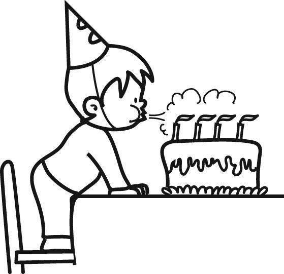 Ausmalbild Geburtstag: Kind bläst Geburtstagskerzen aus kostenlos ...