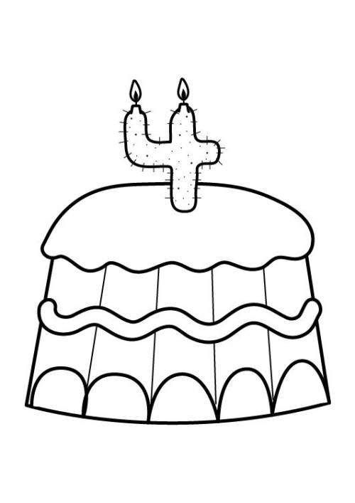 kostenlose malvorlage geburtstag kuchen zum vierten geburtstag zum ausmalen. Black Bedroom Furniture Sets. Home Design Ideas