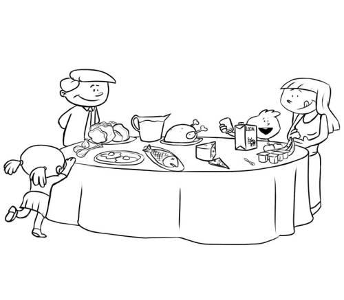Tisch ausmalbild  Kostenlose Malvorlage Geburtstag: Festtagsschmaus zum Ausmalen