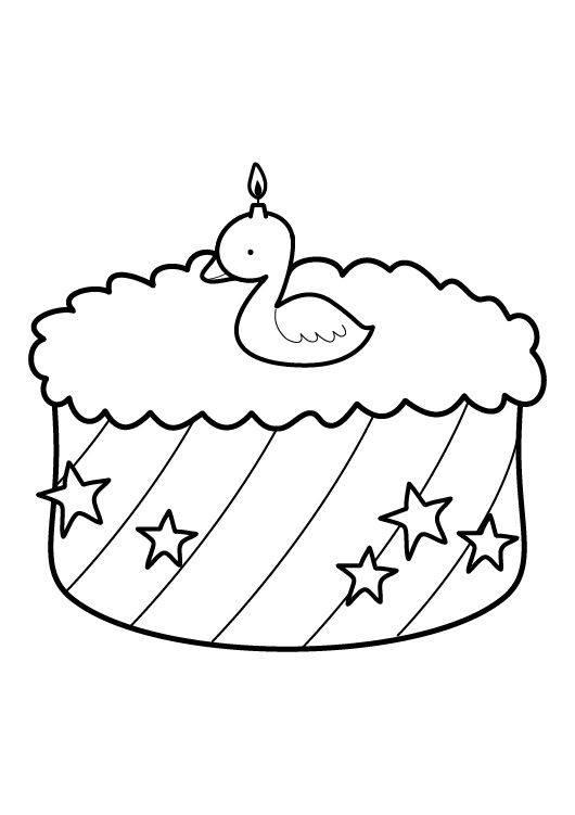 kostenlose malvorlage geburtstag kuchen zum zweiten