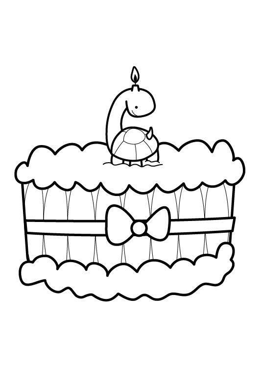 ausmalbild geburtstag kuchen zum sechsten geburtstag