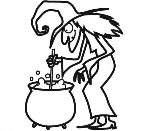 Kostenlose Malvorlage Halloween: Hexe und Hexenkessel zum