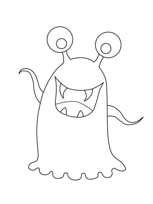Kostenlose Malvorlage Halloween: Glupschaugen-Monster zum Ausmalen