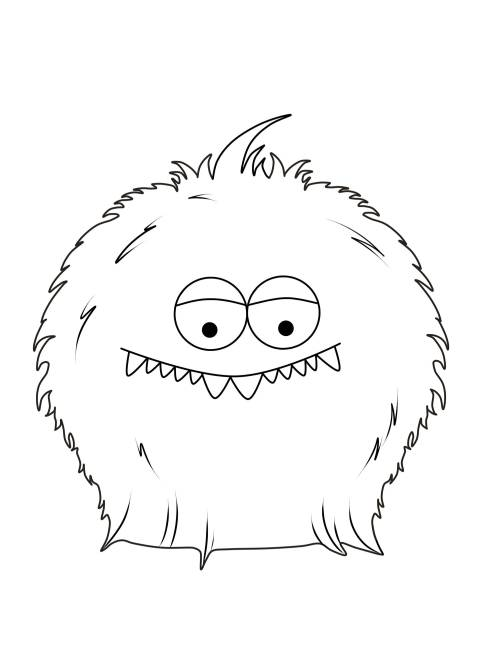 Kostenlose Malvorlage Halloween: Pelziges Monster zum Ausmalen