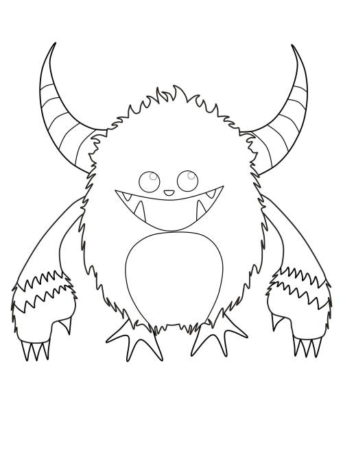 Kostenlose Malvorlage Halloween: Gehörntes Monster zum Ausmalen