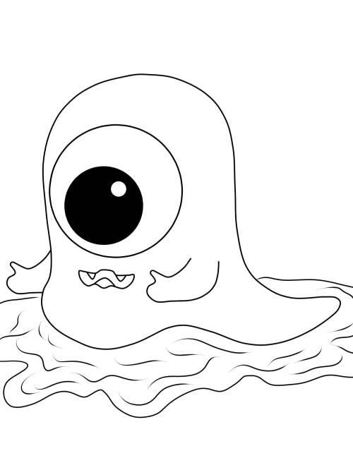 Kostenlose Malvorlage Halloween: Einäugiges Monster zum Ausmalen