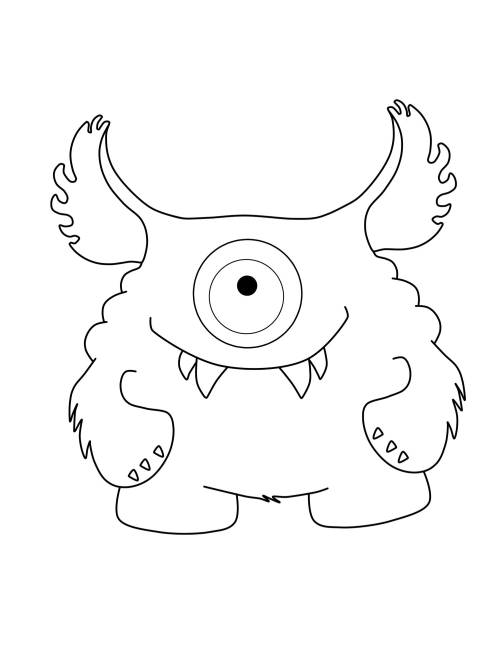 Kostenlose Malvorlage Halloween: Einäugiges Monster mit großen ...