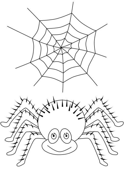 kostenlose malvorlage halloween spinne und spinnennetz