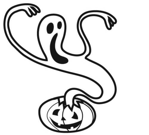 Kostenlose Malvorlage Halloween: Kürbis-Geist zum Ausmalen