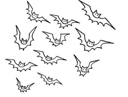 Kostenlose Malvorlage Halloween: Viele Fledermäuse zum Ausmalen