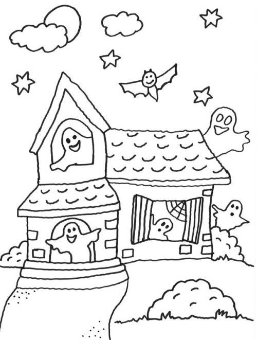 Kostenlose Malvorlage Halloween: Geisterhaus zum Ausmalen