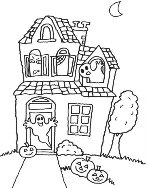 kostenlose malvorlage halloween gespensterhaus zum ausmalen