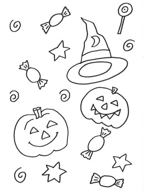 Kostenlose Malvorlage Halloween: Halloween Süssigkeiten zum Ausmalen