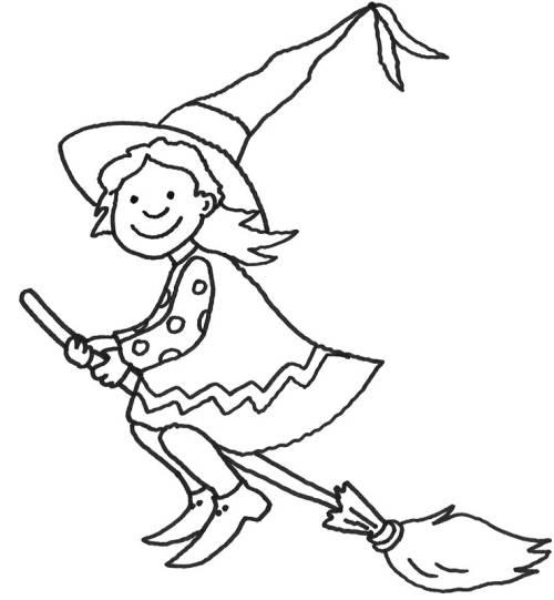 Kostenlose Malvorlage Halloween: Hexe auf ihrem Besen zum Ausmalen
