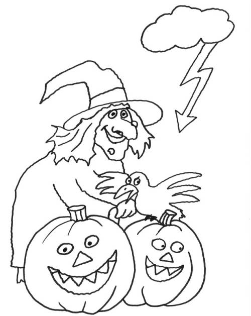 kostenlose malvorlage halloween hexe mit kürbissen zum