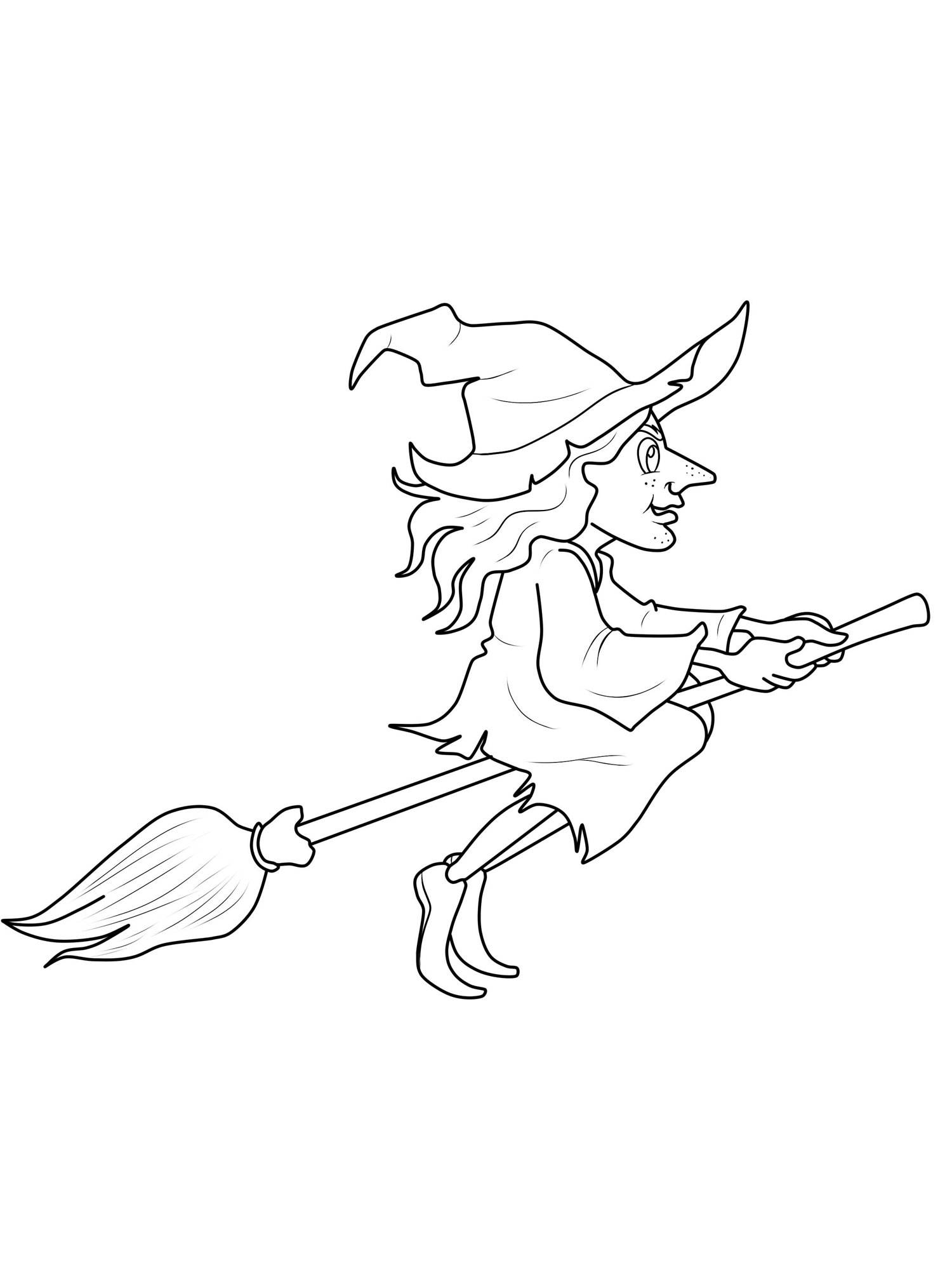 Kostenlose Malvorlage Halloween: Hexe auf dem Hexenbesen zum Ausmalen