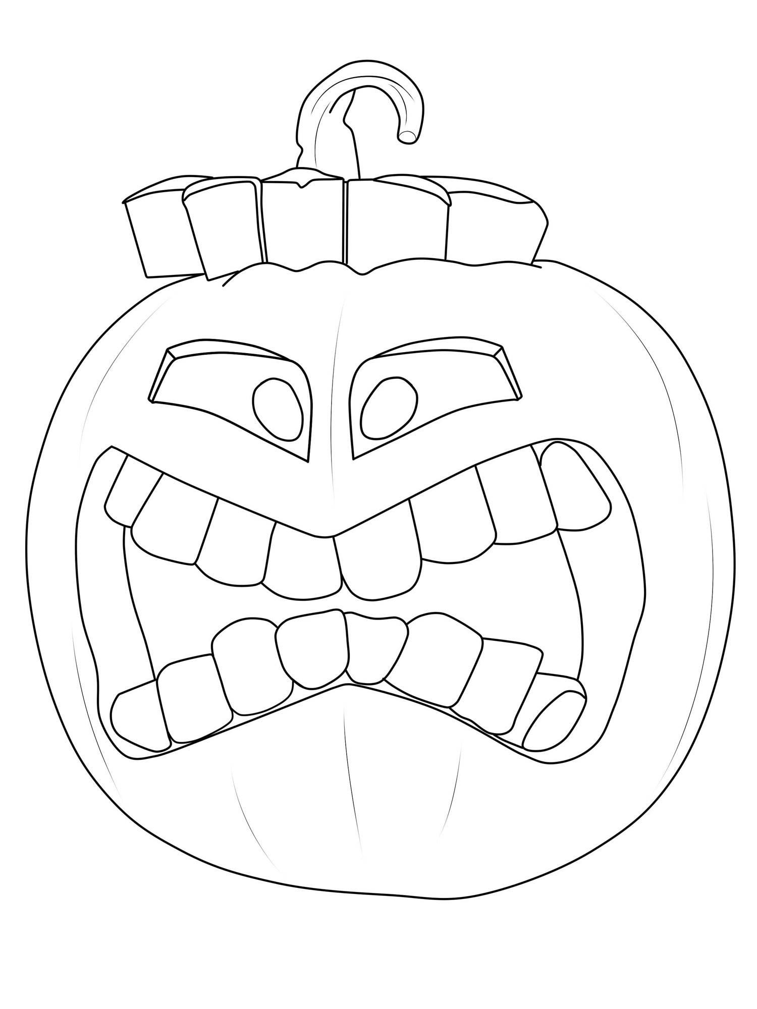 Kostenlose Malvorlage Halloween: Kürbis-Fratze ausmalen zum Ausmalen