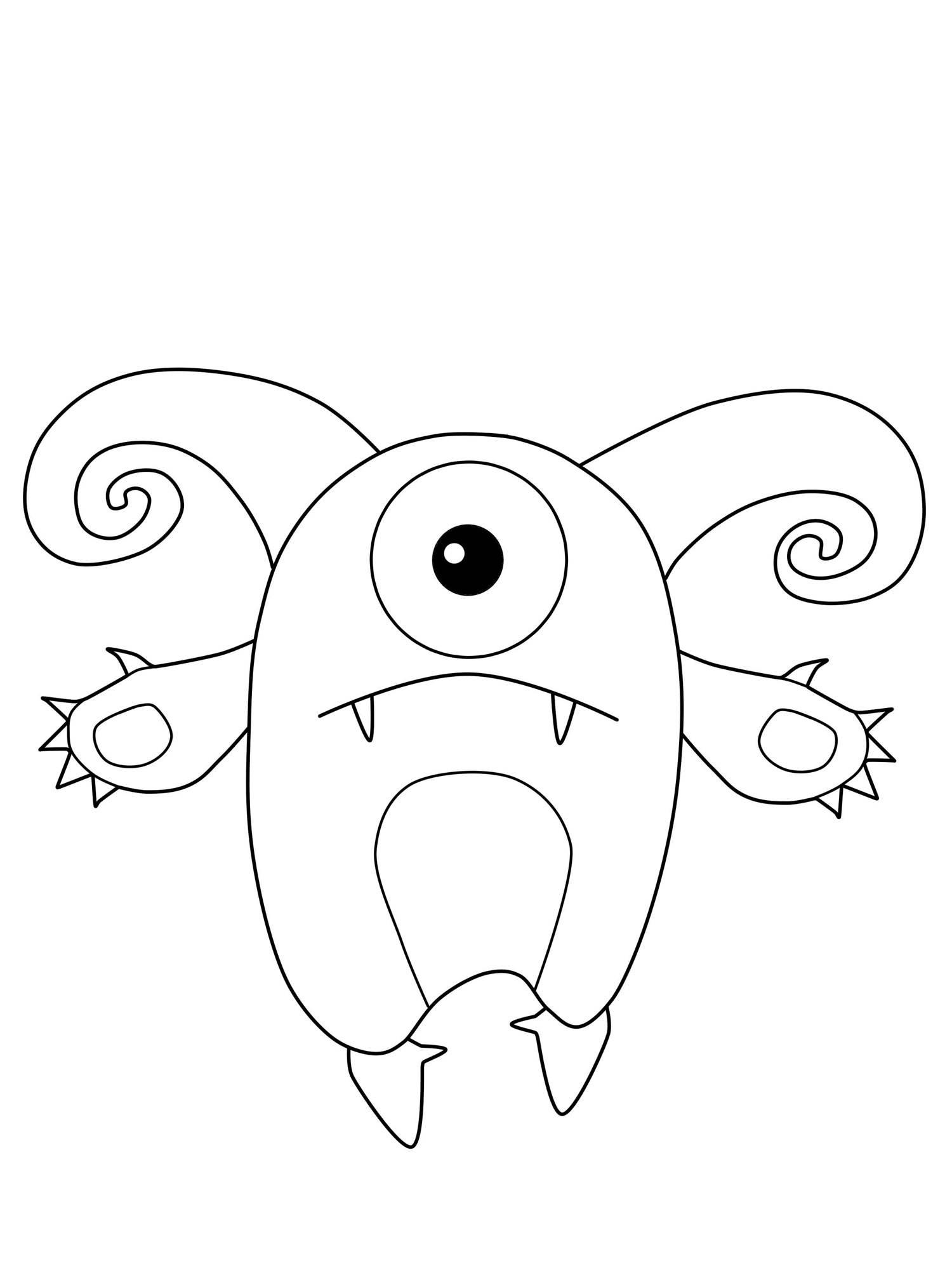 Kostenlose Malvorlage Halloween Einäugiges Monster mit Hörnern zum Ausmalen