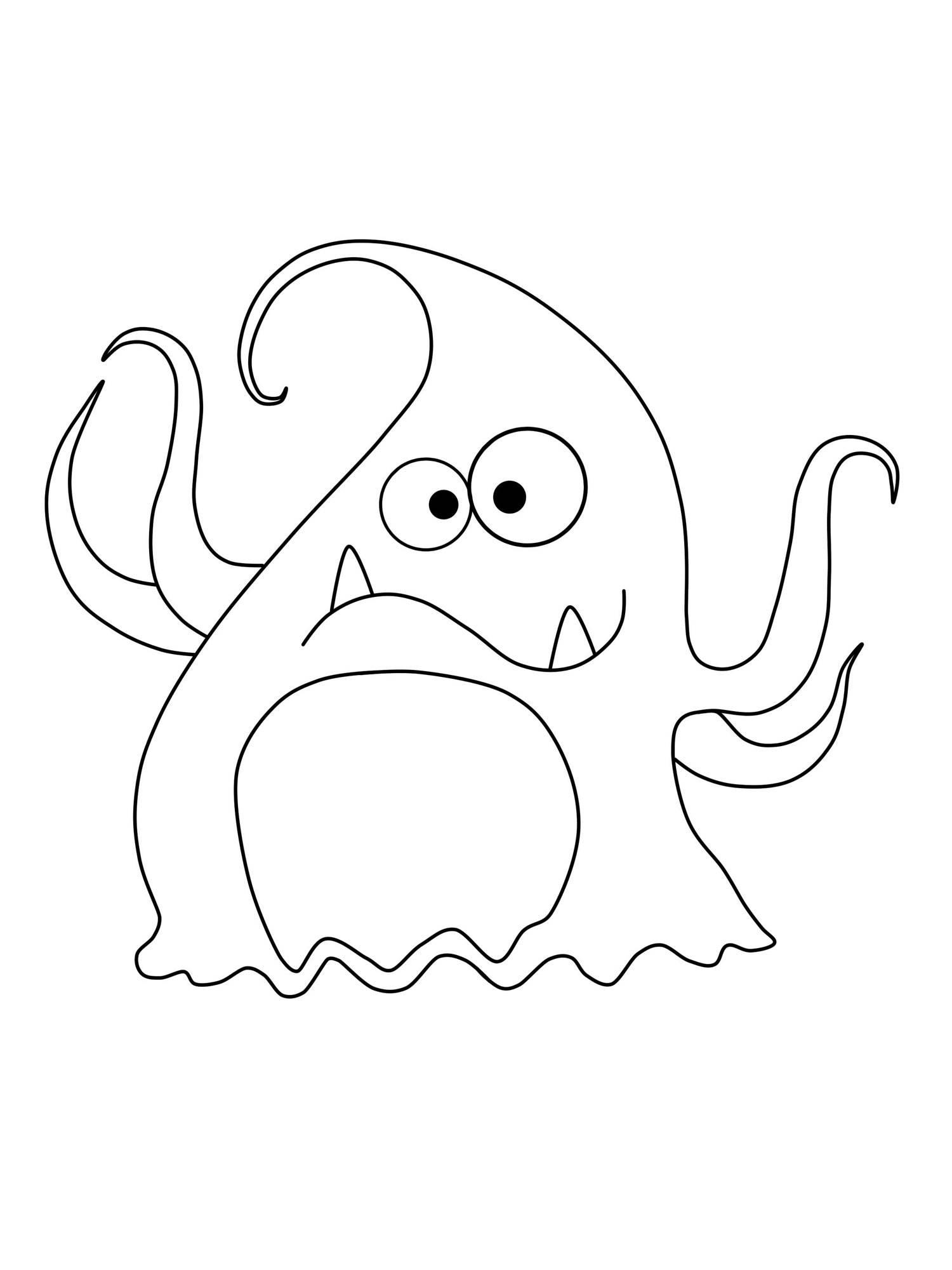 Kostenlose Malvorlage Halloween: Tentakel-Monster zum Ausmalen