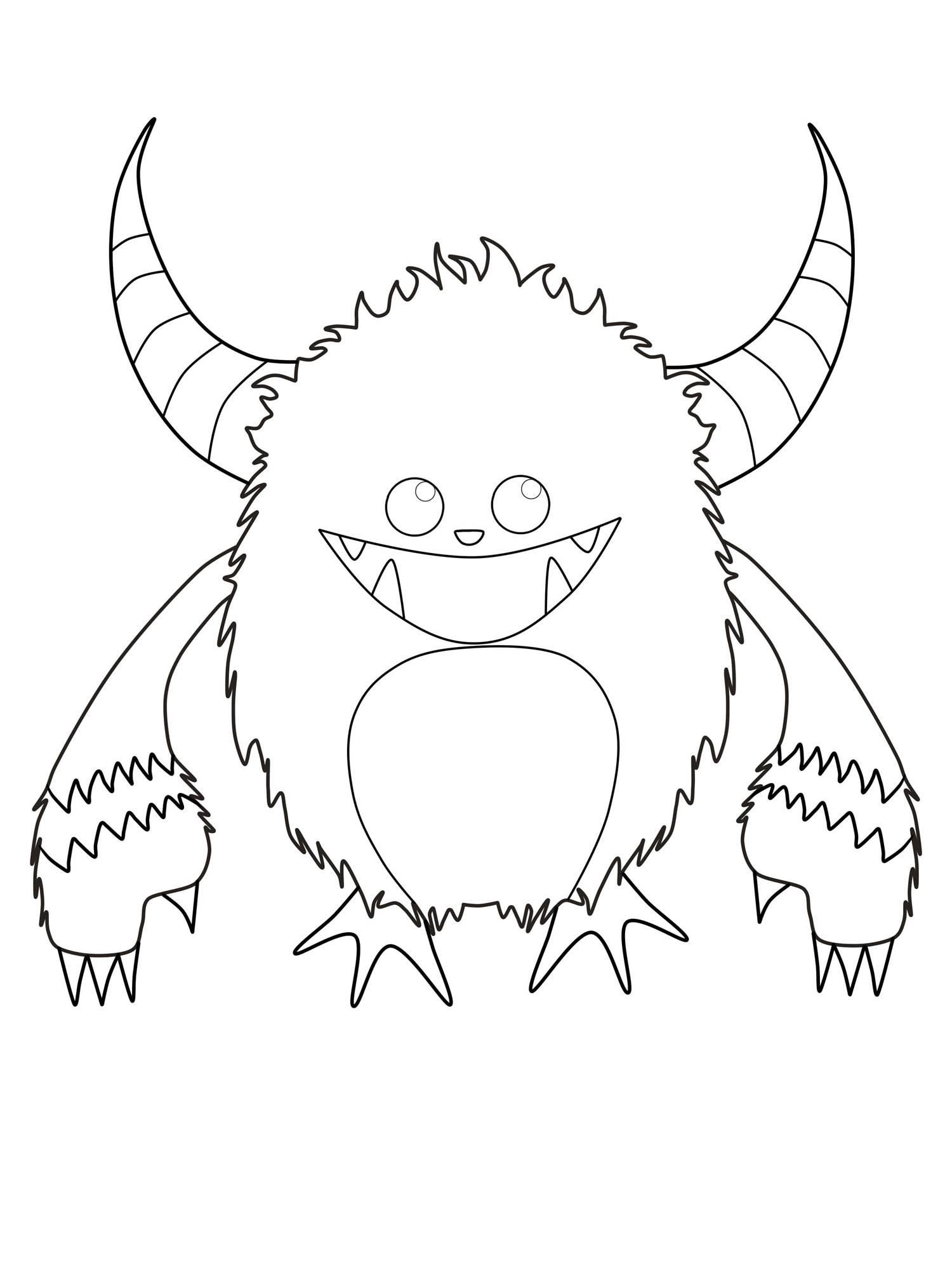 Ausmalbild Halloween: Gehu00f6rntes Monster kostenlos ausdrucken