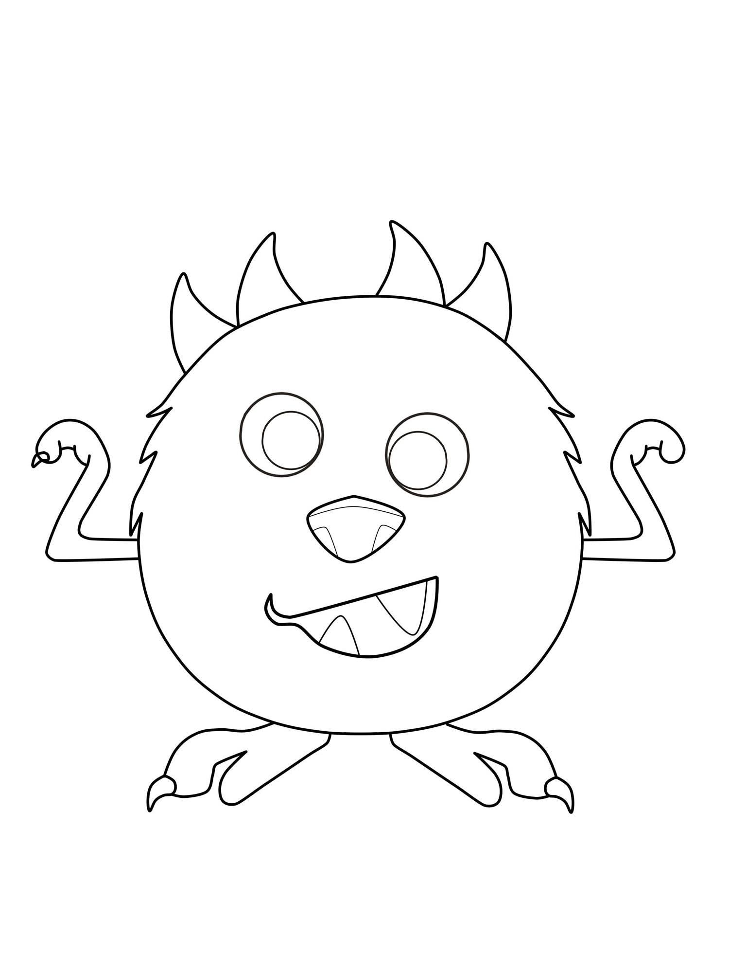 kostenlose malvorlage halloween kugelrundes monster zum
