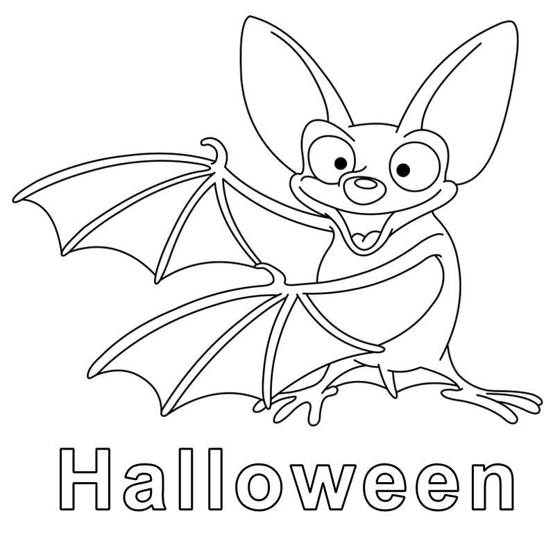 Kostenlose Malvorlage Halloween: Fledermaus zum Ausmalen zum Ausmalen