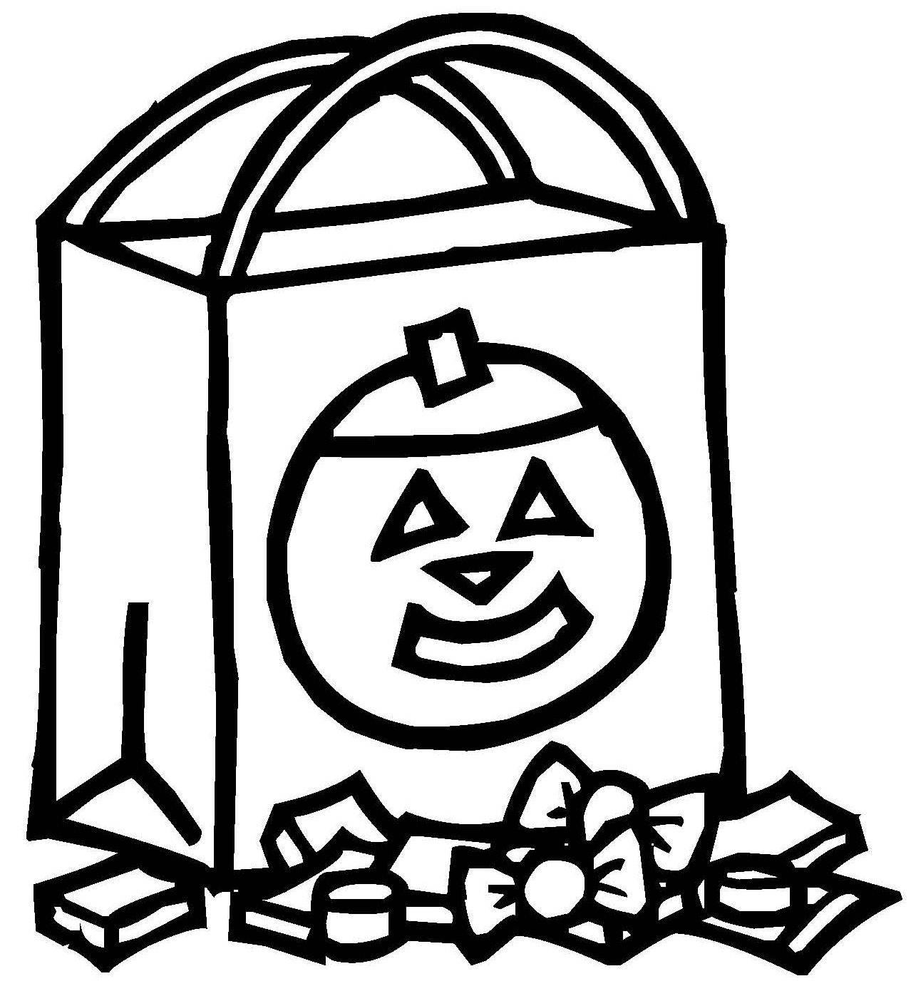 Ausmalbild Halloween: Süßigkeiten-Tüte kostenlos ausdrucken