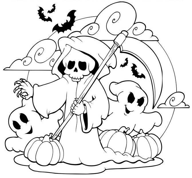 Ausmalbild Halloween: Sensenmann Und Gespenster An