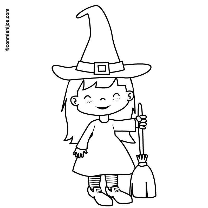 kostenlose malvorlage halloween verkleidung hexchen zum