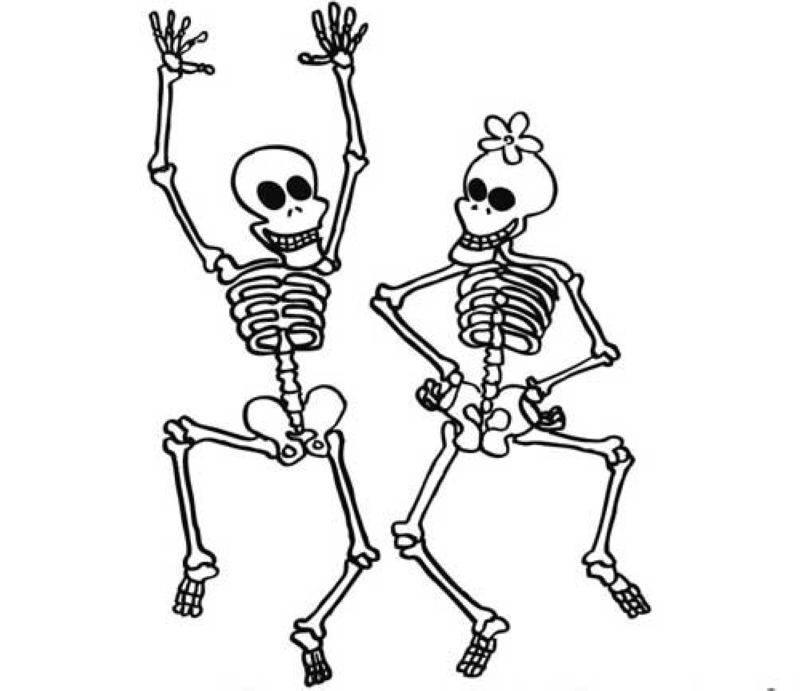 Kostenlose Malvorlage Halloween: Tanzende Skelette zum Ausmalen