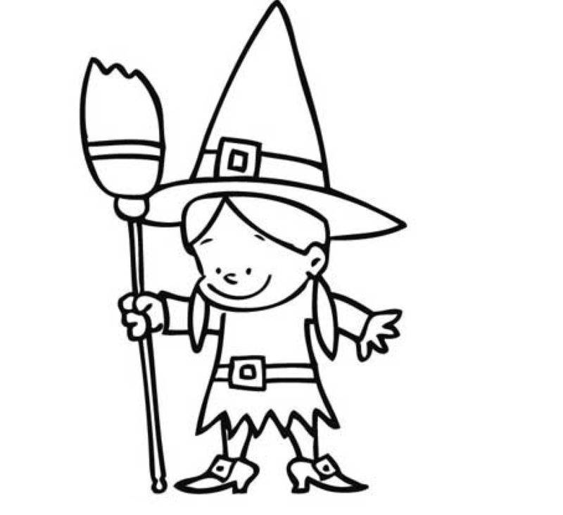 Ausmalbild Halloween: Kleine Hexe kostenlos ausdrucken
