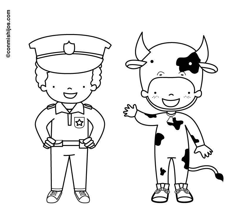 Ausmalbild Karneval, Fasching, Fastnacht: Verkleidung Polizist und ...