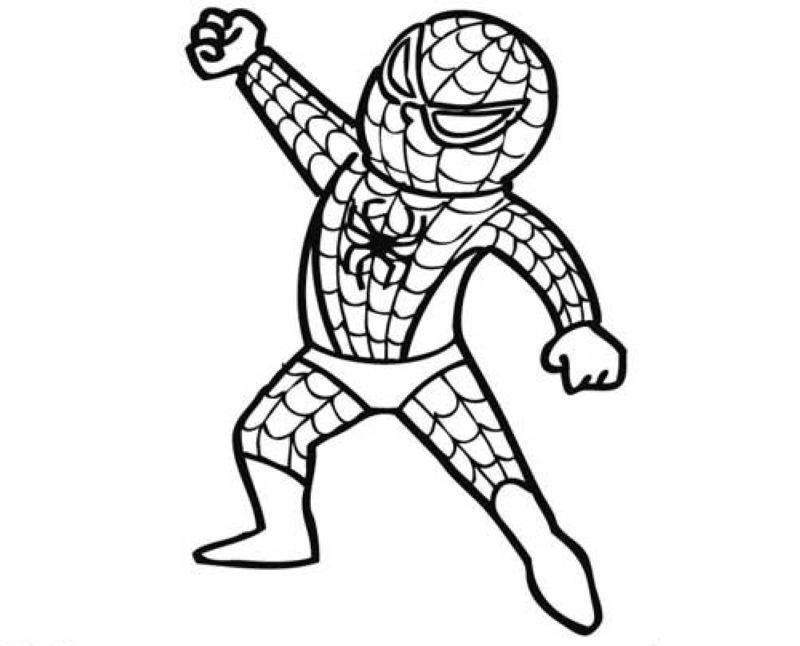 Kostenlose Malvorlage Halloween: Verkleidung Spiderman zum Ausmalen