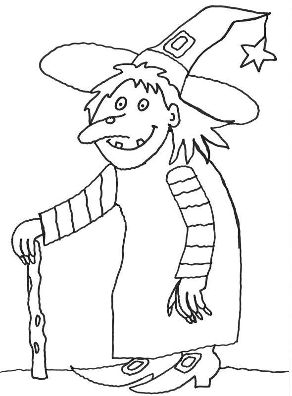 Ausmalbild Halloween Alte Hexe Kostenlos Ausdrucken