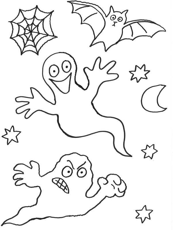 Kostenlose Malvorlage Halloween: Geister zum Ausmalen