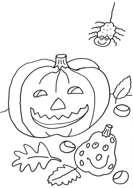Ausmalbilder Herbst Kürbis: Kostenlose Malvorlage Halloween: Halloween Schmuck Zum