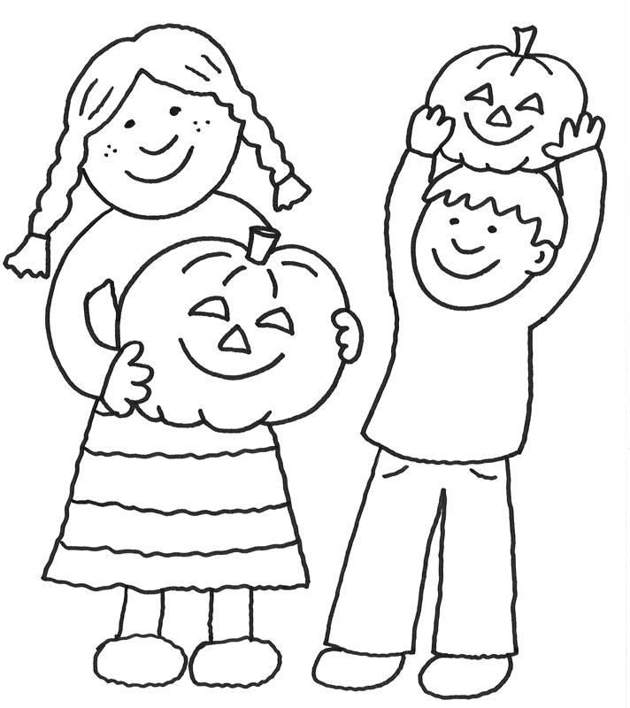 Kostenlose Malvorlage Halloween: Kinder an Halloween zum Ausmalen