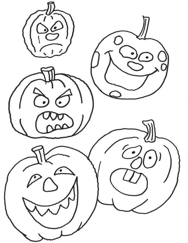 ausmalbild halloween verschiedene kürbisse kostenlos
