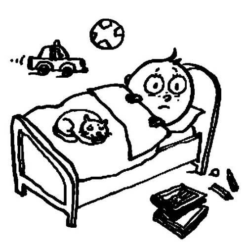 Kostenlose Malvorlage Menschen Und Ihr Zuhause Kind Im Bett Zum