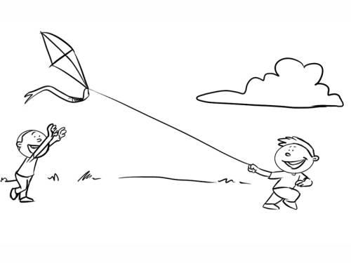 Kostenlose Malvorlage Herbst: Jungen lassen einen Drachen steigen