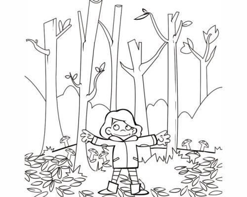 Kostenlose Malvorlage Herbst Junge Im Herbstwald Zum Ausmalen