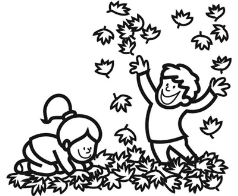 Ausmalbild Herbst: Kinder machen eine Laubschlacht kostenlos ausdrucken