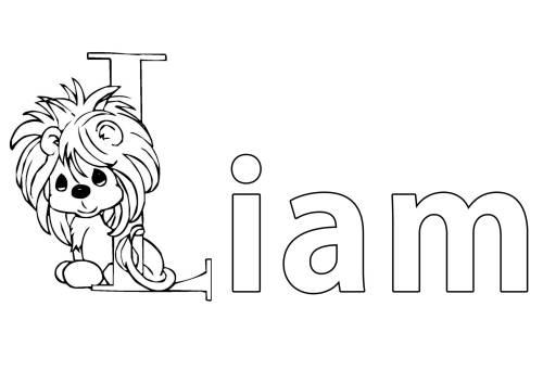 Kostenlose Malvorlage Beliebte Jungennamen: Vorname Liam ausmalen ...